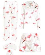 Flamingo Print Satin 5PC Nightwear Set at Boohoo