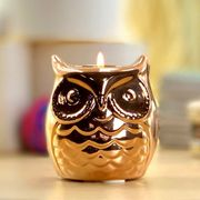 Yankee Candle Lucky Bronze Owl Ceramic Holder + Candle