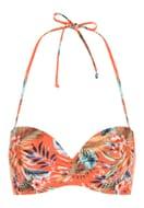 Womens Orange Floral Halter Neck Bikini Top