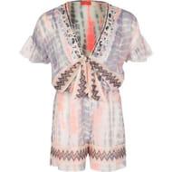 Girls White Tie Dye Cutout Sheer Playsuit - Save £6