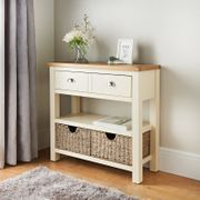Newsham Oak Console Table with Storage Baskets Fully Assembled