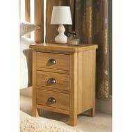 Wiltshire Oak 3 Drawer Bedside  Fully Assembled