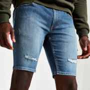 Mens mid Blue Skinny Fit Denim Shorts
