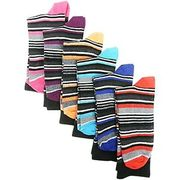 6 PAIRS MULTI-PACK Gents Mens Dress Ankle Calf Socks Heel Toe Striped Size 6/11
