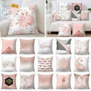 Cushion Covers Rose Gold Pink Grey Geometric Marble Pillow Case Sofa Home Uk