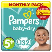 PRICE DROP! Pampers Baby-Dry Size 5+, 132 Nappies, 12-17kg,