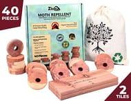 Cedar Wood Moth Repellent for Wardrobe Storage 40x Premium Organic Moth Killer