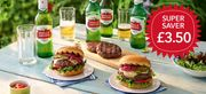 4 100% British Beef or 2 Vegan Burgers & 4 Pack of Stella Artois or 4 pack Coke