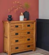 ORIGINAL RUSTIC Rustic Solid Oak Chest of Drawers