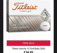 TITLEIST VELOCITY GOLF BALLS plus Free Mug