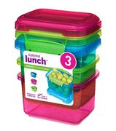 3 X 400ml Sistema Click & Lock Lunch Boxes