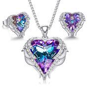 Deal Stack! Angel Wings Crystal Heart Pendant Necklace and Earrings Set