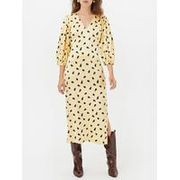 GESTUZLutille Printed v Neck Dress - Yellow  Size 10,12 and 14 Left