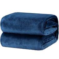 Lightning Deal Bargain! Bedsure Flannel Blankets Bedspread Queen Size Navy Blue