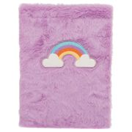 Pink Rainbow Plush A4 Notebook