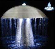 H49cm Abbey Falls Mushroom Stainless Steel Water Feature with Lights by Ambient