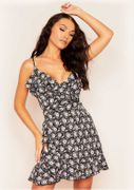 Haila Black Ditsy Floral Wrap Mini Frill Dress