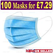 100 X Disposable Face Mask 3 PLY - Only £7.29!