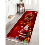 SALEChristmas Wreath Santa Claus Print Flannel Bath Mat