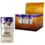 18 X Godiva Chocolatier Dark Chocolate Crispy Mini Pearls 35g Tins