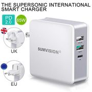 Sumvision 65W PD USB Type C Multi Port Wall Charger with USB a Quick Charge 3.0