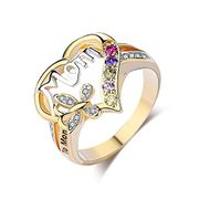 Women Mom Finger Ring Love Heart Flower Crystal