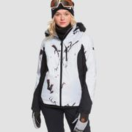 Roxy Jet Ski Premium Snow Jacket True Black White Birds - Womens