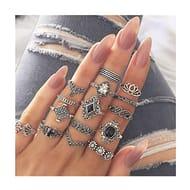 15PCS Boho Style Vintage Punk Silver Rings Set