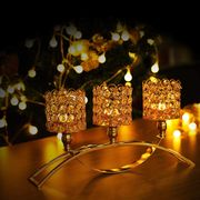 3 Arms Crystal Gold Candle Holder