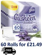 60 Cusheen Quilted 3 Ply Lavender Fragrance Toilet Rolls + FREE DELIVERY