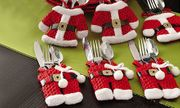 Pack of 6, 12 or 18 Santa-Themed Cutlery Holders