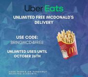 Unlimited Free Delivery from McDonalds on Uber Eats (Selected Accounts)