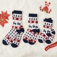 Winter New 100% Cotton Christmas Elk Print Family Stockings 67% Off