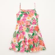 Bluezoo - Girls' Multicoloured Flamingo and Palm Leaf Print Skater Dress