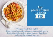 CHEAP! Any Pizza, Pasta & Drink Includes Beer, Wine or Fizz