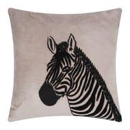 Velvet Animal Cushion - Zebra