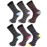 CHEAP! 6 Pk Men's Luxury Cotton Stripe Socks
