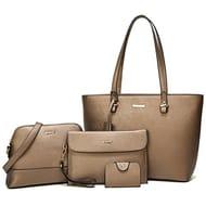 Women Handbag PU Leather Large Shoulder Crossbody Bags 4pcs Set.