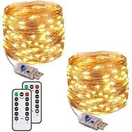 [2 Pack] Fairy String Lights, 120LED 12M/40Ft 8 Modes USB Plug in Powered Lights