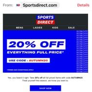 20% off Sportsdirect