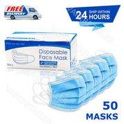 50 X 3 PLY DISPOSABLE FACE MASK - NON SURGICAL BREATHABLE MOUTH GUARD COVER UK