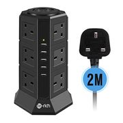 Tower Extension Lead, 12 Gang Surge Protector Multi Plug Power Strip with 5 USB