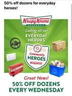 50% off Krispy Kreme Dozens Every Wednesday for Community Heroes