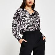 Black Animal Print over the Head Shirt