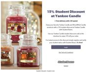 15% Student Discount at Yankee Candle + Free Delivery with £30 Spend