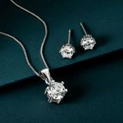 Premium Sterling Silver CZ Six Claw Jewellery Set £15.99 Using Code