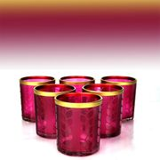 6 X Official Yankee Maize Purple Glass Votive Candle Holders