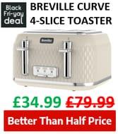 BREVILLE Curve 4-Slice Toaster (Several Colours)