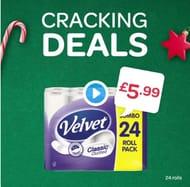 Velvet Classic Quilted 24 Roll Toilet Tissue White