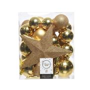Pack of 33 Gold Assorted Shatterproof Baubles with Star Tree Topper
